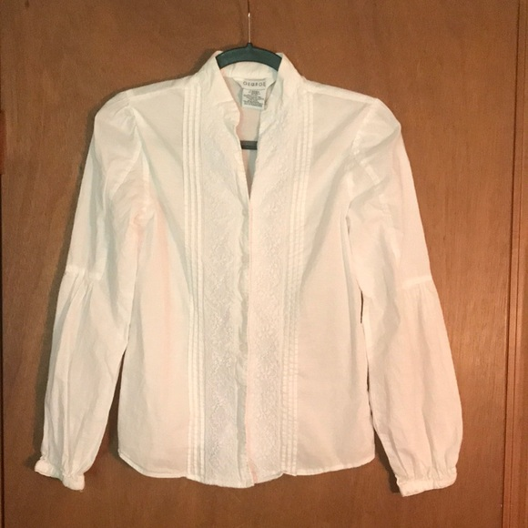 Standing collar fitted top with front lace +pleats